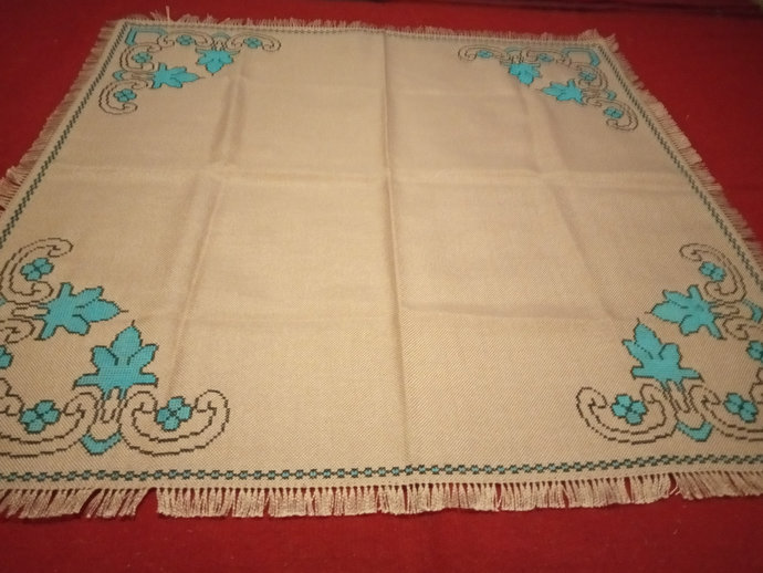 Handmade Table Cover, Hand Embroidered Table runner, Mediterian blue embroidery