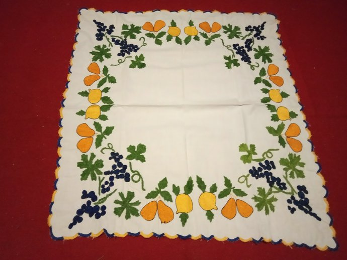 Table Scarf Kitchen Table Decor Hand Embroidered Fruit Patter., Kitchen Towel