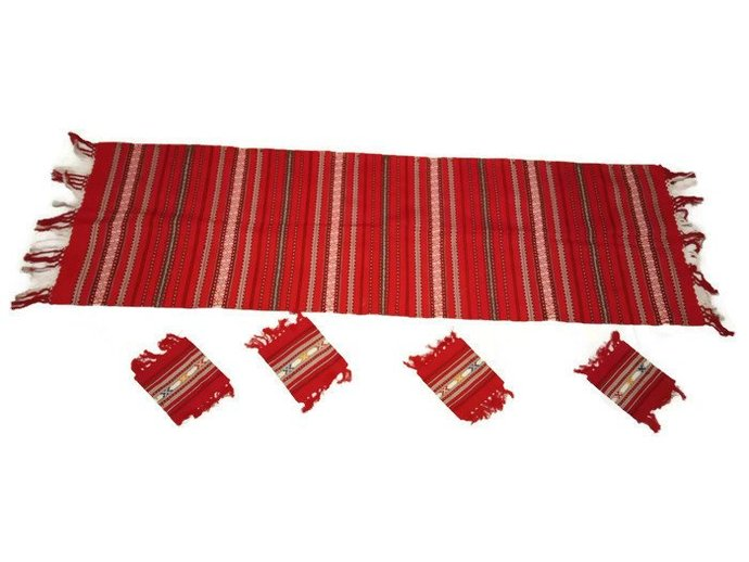 Table Runner Embroidered, Table Centerpiece Red Embroidered, Four Glass Coasters