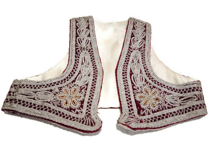 Silver Vest Hand Embroidered With Silver Thread Vintage Vest. Unique Ottoman