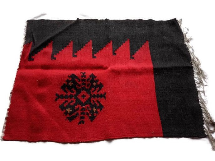 Small Rug red And Black, Handmade And Handwoven From Pure Natural Woo. Snowflake