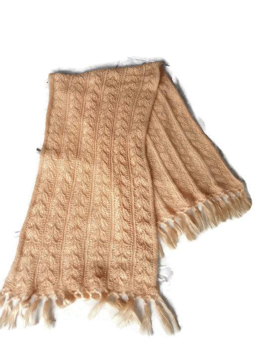 Women Big Hand Knit Shawl, Handmade And Vintage Women Wrap, Rose Gold Shawl