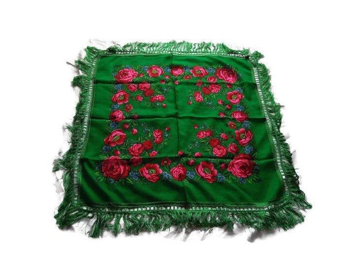 Green Scarf For Women, Medium Size Scarf, Flower pattern printed, vintage women