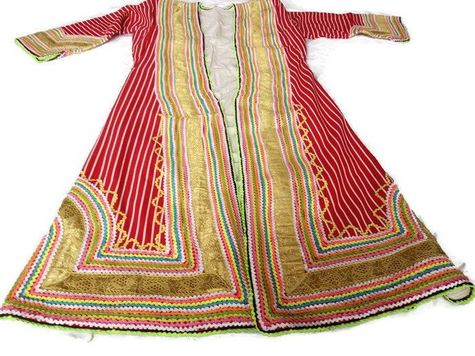 Rare Dress Gown With Gold Thread. 1980's Ottoman Style Dress Gown, Colorful
