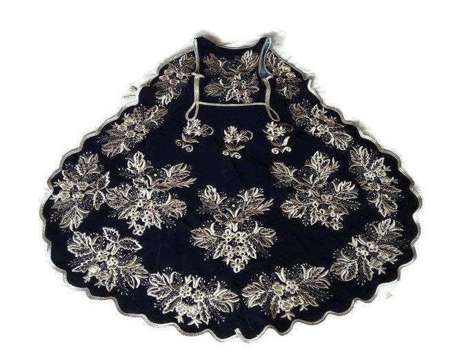 Dress Gown Dark Blue, Silver Thread Embroidered. 1980's Velvet Dress, Turkish,