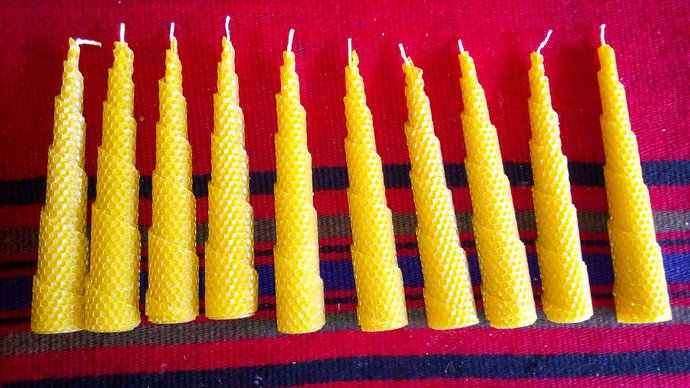 Handmade Beeswax Candles. Bright burn. Natural color and natural honey scent
