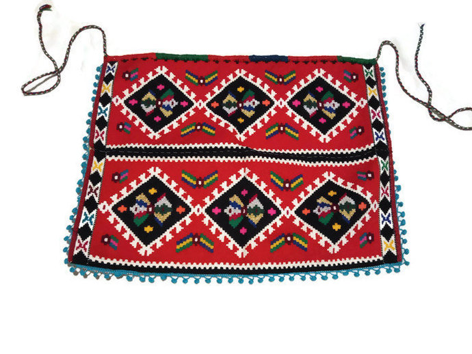 Handmade Woven Apron With Traditional Folklore Motives. Traditional Baklava