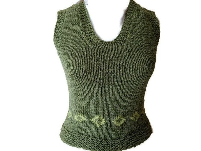 1960's Women Knit Sweater. Vintage Women Fashion. Hand Knit Sweater. Vintage
