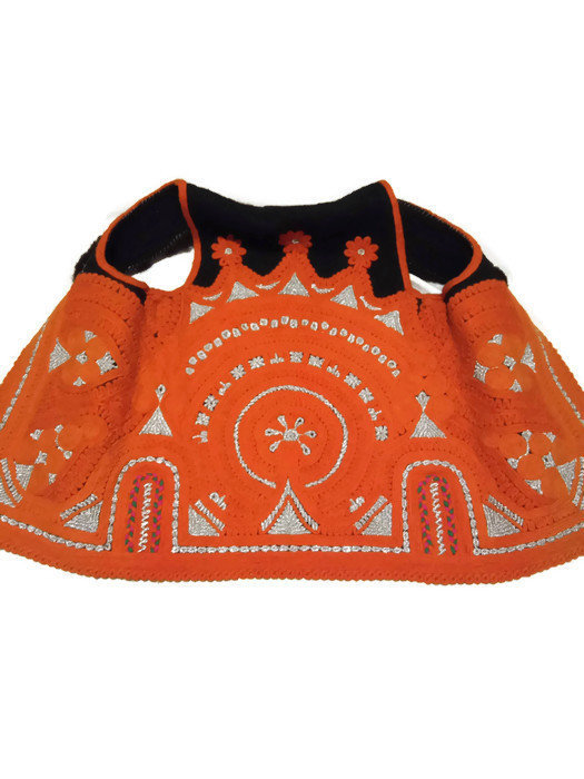 Orange Vest. Silver Thread Embroidery. Handmade Vest. Unique Woman Vest. Hand