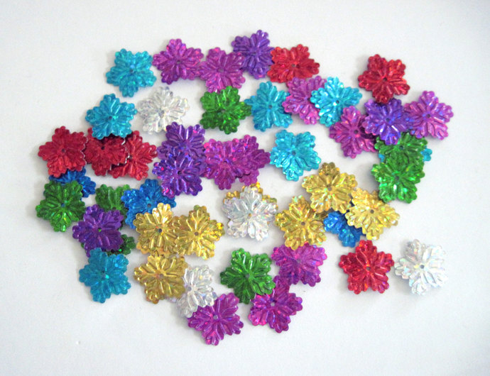 CLEARANCE SALE Thin Small  Sparkling Colorful Snowflakes  for Crafting