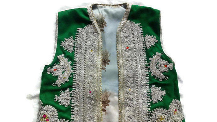 Vest Silver Thread. Hand Embroidered Vest. Unique And very Rare. Vintage