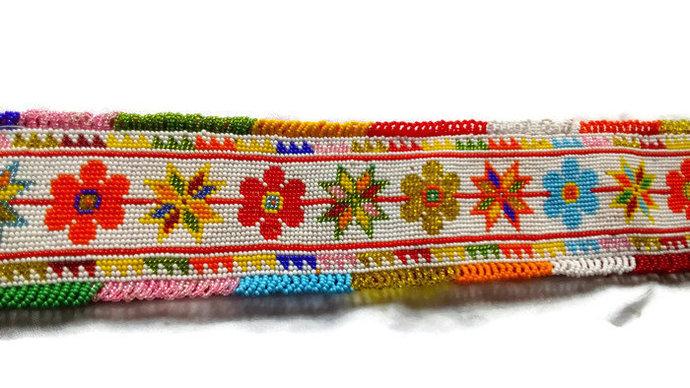 Belt Handmade. Belt Beads. Vintage Woman Belt. Colorful Belt. Rare Woman Belt.