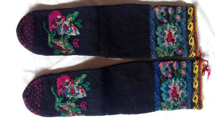 Socks Woolen. Pure Wool. Hand Knitted. Rare and Vintage. Winter socks.