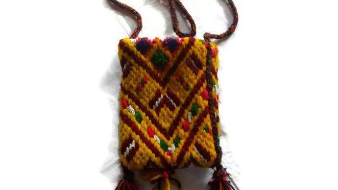 Bag Small Yellow. Shoulder bag. Vintage. Hippie bag. Bag for phone. Bag for