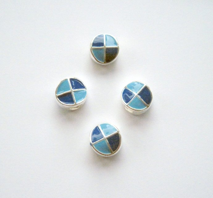 5  Large Hole Enameled Metal Beads Light Blue Dark Blue Double Sided Beads Add A
