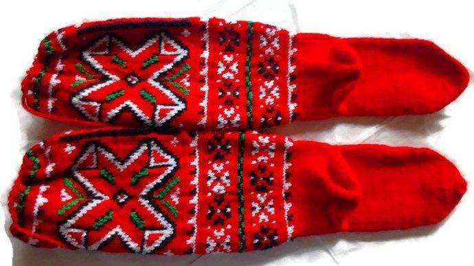 Socks Hand Knitted. Holiday Christmas Socks. Warm and cozy socks. High Socks