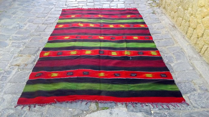 Carpet folklore pattern. Traditional folklore carpet. Handmade and vintage