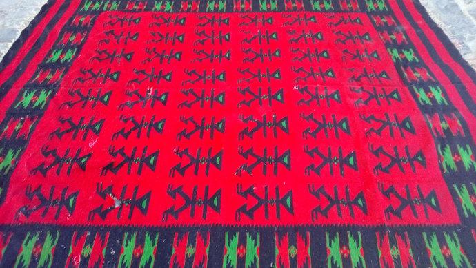 100 years old carpet. Macedonian Kilim. Handmade carpet. Bohemian Carpet Area
