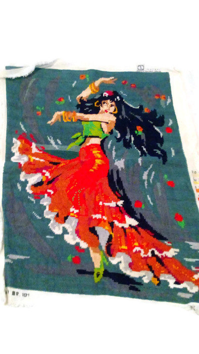 Handmade Gobelin Needlepoint/ Spanish dancing girl/ wall decor/ gobelin