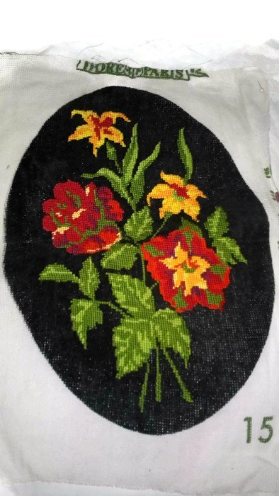 Gobelin Needlepoint. Oval . on a black canvas.  Flower. Small tapestry. Small