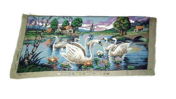Gobelin Handmade Needlepoint. Wall decoration. Gobelin Tapestry. Swans in the