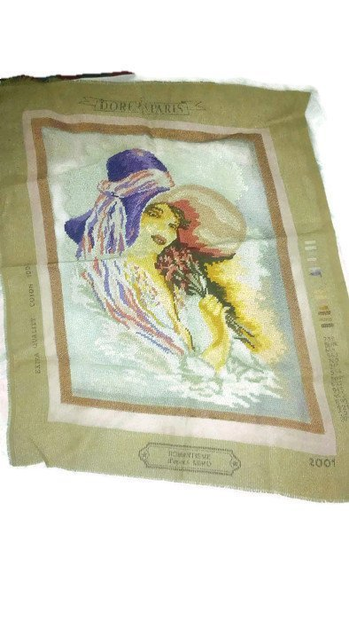 Gobelin needlepoint/ handmade embroidery/ beautiful young girl