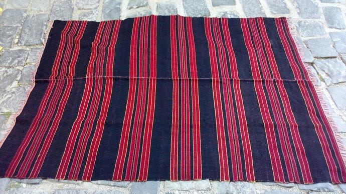Cherry red kilim - rug. Handmade rug. Vintage rug. Natural pure wool. Area