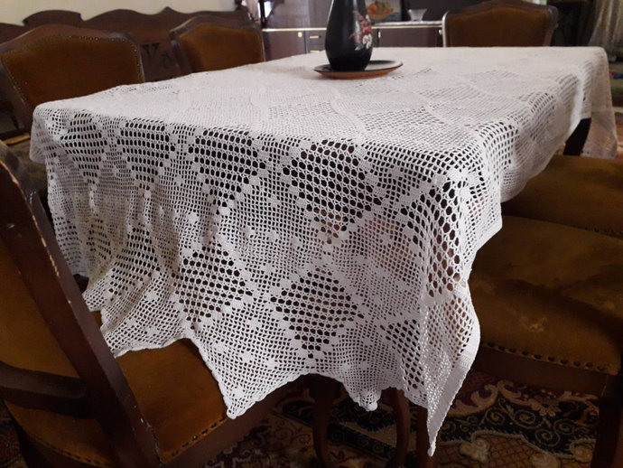 Tablecloth White. Hand Knit Tablecloth, Linen Tablecloth, Rustic Tablecloth,