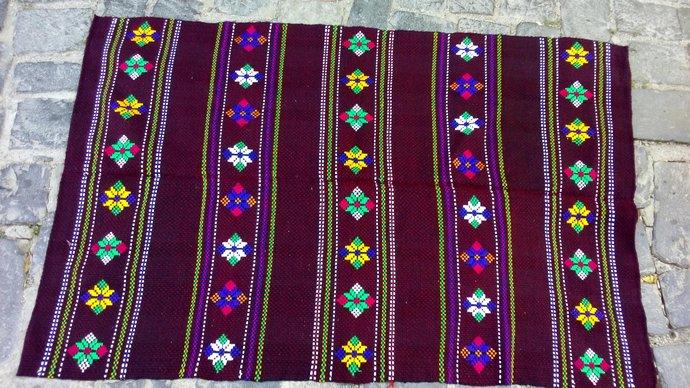 Vintage Rug. Simple Rug. Hand Embroidered Rug. Small Rug. Handmade. Wool rug.