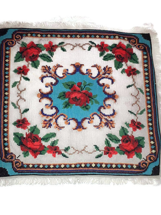 Tablecloth Hand Knit. Square Tablecloth. Table Cover Knitted. Flower pattern