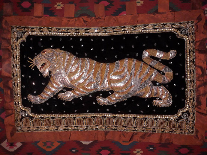 Tapestry 3D Hand Embroidered. Silver Thread. Tiger Tapestry. 3d wall hanging,