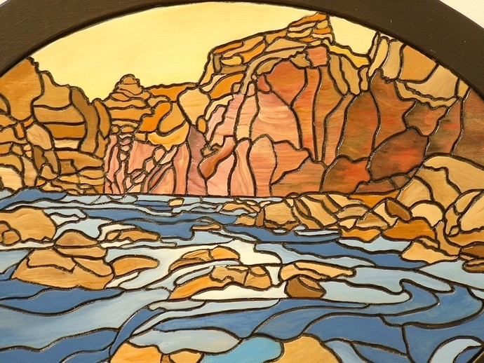 Abstract River in the Canyons, Wood Sculpture Southwest Grand Canyon