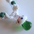 Awesome Glass Green Spotted Mushroom Pendant on Handmade White Hemp Necklace