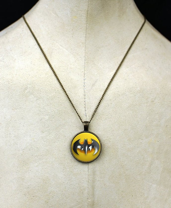 Custom Batman necklace pendant comic superhero necklace fanboy fangirl bat lover