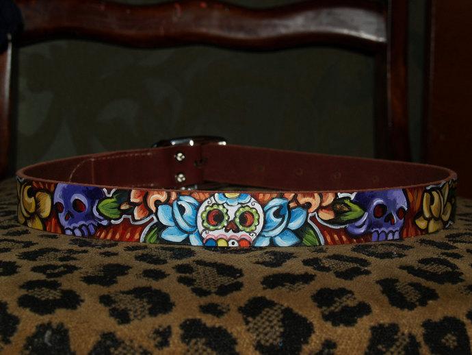 Tattoo leather dog collar Dia de los muertos skulls handpainted 18 in 1 inch