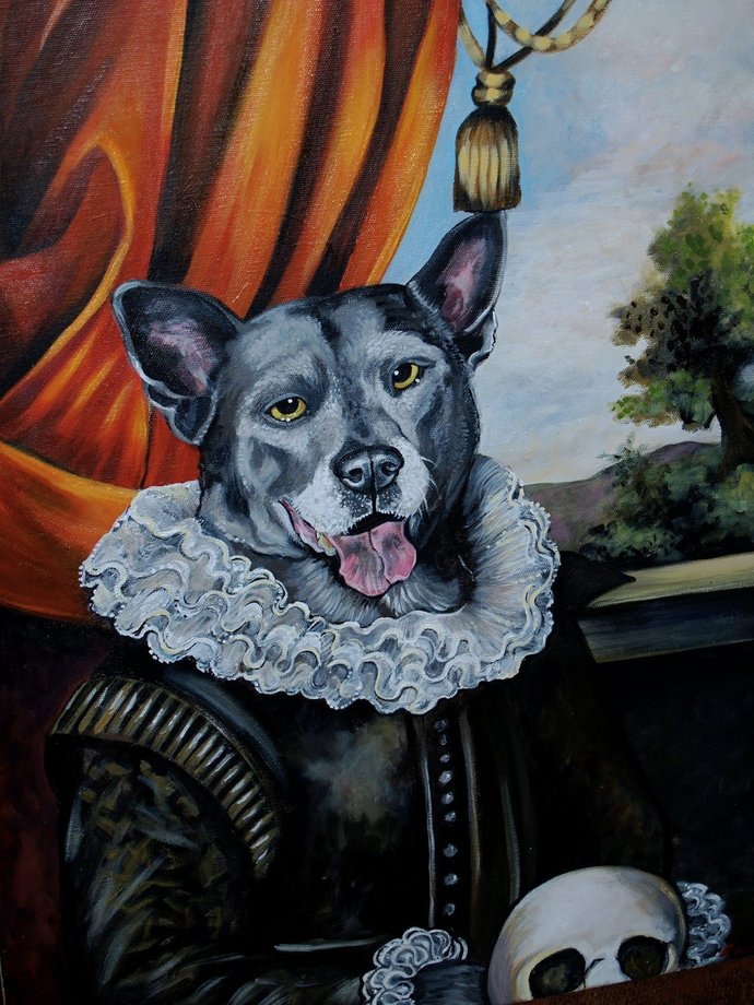 Custom Comission DOG Painting 24 X 36 Acrylic OIL of your pet ANY pet