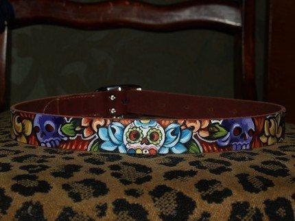 Tattoo leather dog collar Dia de los muertos skulls handpainted M\/L
