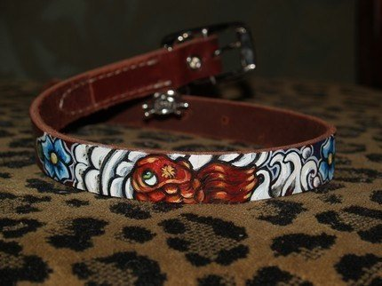 Leather TATTOO Dog Collar Handpainted KOI waves clouds 14 in sml