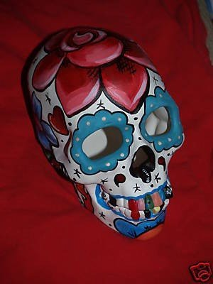 Day of the Dead Skull Head Bisque handpainted roses leaves Tattoo