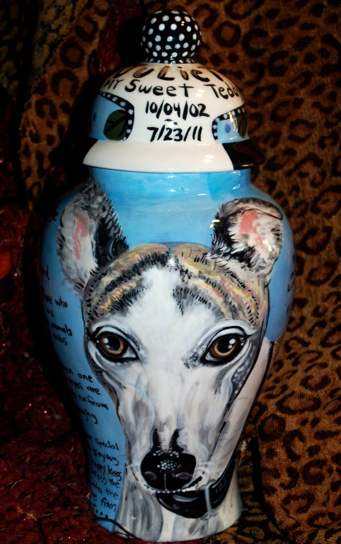 Ceramic burial PET URN Custom large dog urn Greyhoud any breed personalized