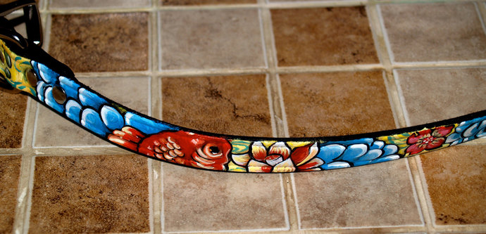 Black Leather TATTOO Dog Collar Handpainted KOI waves clouds  flowers 14 in 1/2