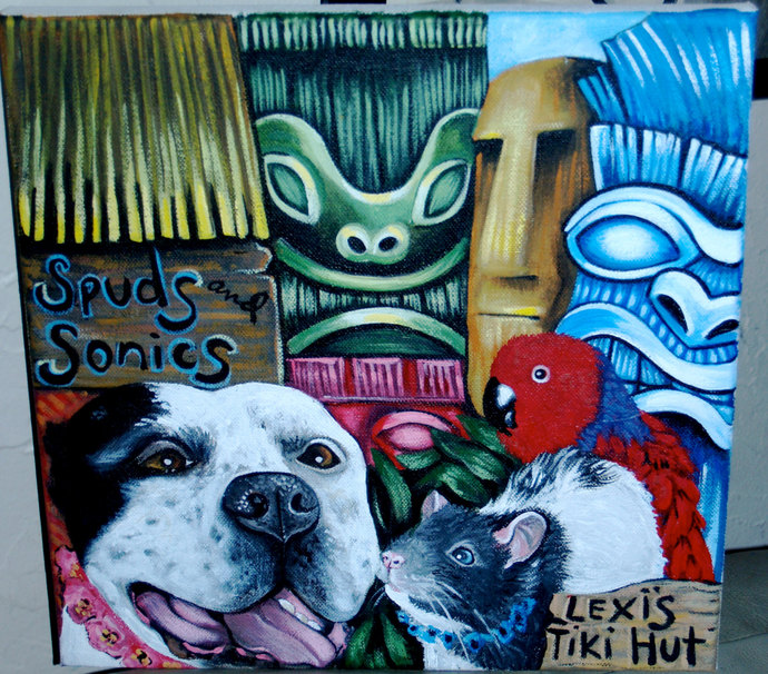 Custom commission TIKI DOG portrait Painting 10 x10 acrylic oIL of your pet any