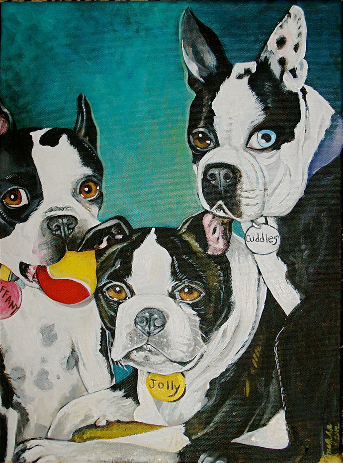 Custom commission DOG portrait Painting 11 x 14 acrylic oIl of your pet any pet