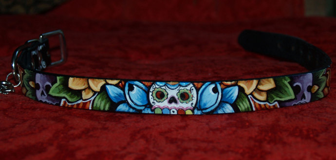 Tattoo Leather dog collar skull day of the dead14 inches 3/4 in wide black