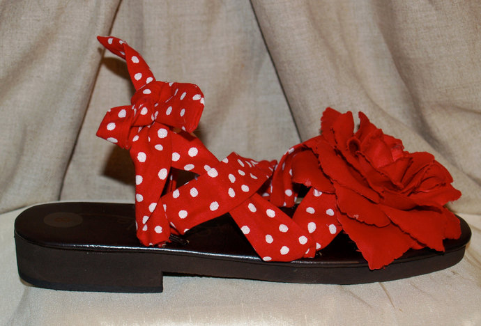 Women's Rockabilly red and white polka dot sandals leather strappy pin up