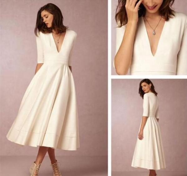 Vintage Tea-length Cheap Wedding Dresses  BD2194