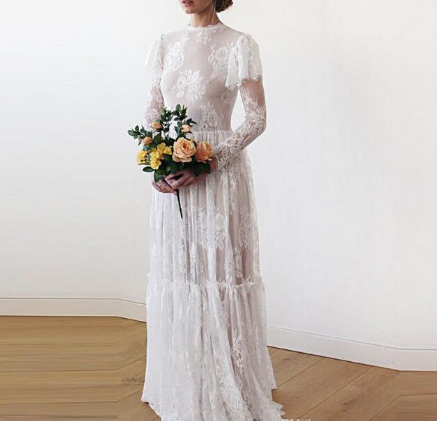 Vintage Country Wedding Dresses Bridal Gown 2019 Lace Illusion Long Sleeves
