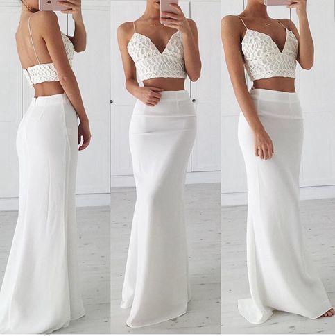 White v neck long prom gown, white formal dress