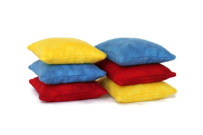 Bean Bags Primary Colored Squares (set 6) Handmade from Red, Blue, and Yellow