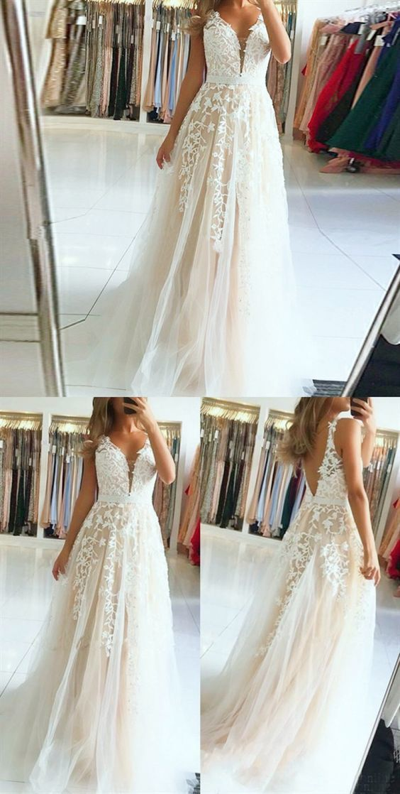A-Line V-Neck Backless White Long Prom Dress with Appliques